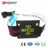 NFC Ntag 213枚の編まれたファブリックカスタム印刷RFIDのブレスレットの札