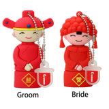Estilo barato da noiva do noivo de China das penas da memória do USB