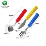 Creative cuberterías de acero inoxidable Kids tenedores y cuchillos cuchara de silicona con mango