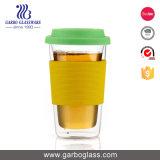 Tazza di caffè di vetro doppia del Borosilicate elegante di Garbo con il coperchio ed il silicone GB500190450