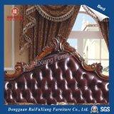B268 Ruifuxiang Brown ledernes Bett mit Hand geschnitztem Muster