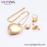 61264 La imitación de la moda en forma de corazón Conjunto de joyas de diamantes de chapado en oro.