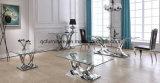 熱い卸し売り十字の足6のSeaterの緩和されたガラスの上のダイニングテーブル