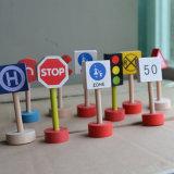 Brinquedos educacionais das crianças de madeira da trilha do carro dos sinais de tráfego dos veículos para o bebê dos miúdos