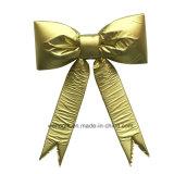 Bowknot no tejido del oro hecho a mano para la decoración de la Navidad