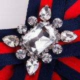 絹製ネクタイのリボンの結婚式の女性ファブリック真珠の水晶弓ブローチのアクセサリ(J01)