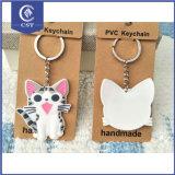 習慣3Dの柔らかいプラスチックゴム製猫PVCキーホルダー