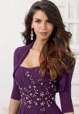 Фиолетовый матери платье с куртка вечерние платья