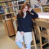 Camisas del Knit con contraste de la tela de la raya