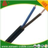 VDEのセリウムの承認H03VV-F 2*0.5mm2 2*0.75mm2 PVC絶縁体の黒の織物の編みこみのファブリックワイヤー