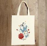 Природные чистый хлопок индивидуальные Canvas женская сумка складная Reusabe Overprinted