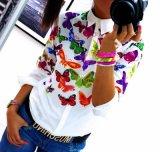 Frauen-langes Hülsen-weißes Hemd-beiläufige gedruckte Hemd-Dame Shirt