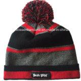 Chapeau tricoté acrylique de Beanie de jacquard de modèle personnalisé par produit d'OEM d'usine