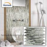 La striscia lucida placca il mosaico di vetro d'argento di vetro della stanza da bagno delle mattonelle