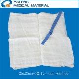 Spugna assorbente non lavata 25cmx25cm-12p del giro per uso dell'ospedale