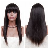 Dlme Natural Laces Face Full Fringe Silky Straight Brazilian Hair Wig