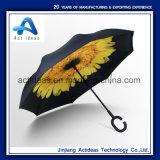 C 모양 손잡이 수동 반전 똑바른 차 선전용 광고 우산