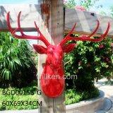 빨강에 있는 벽 예술 사슴 + 백색 가지진 뿔 가짜 헤드 Polyresin에 의하여 새겨지는 동물성 헤드