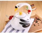 Diseño de cisne de buena calidad de esmalte resistente silbido hervidor de agua con mango de esmalte