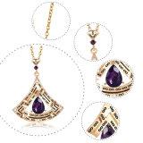 Vidrio de color púrpura único Collar Conjunto de la Joyería de pendientes de piedra