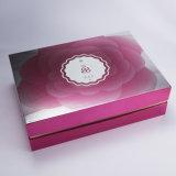 Paquete de regalo brillante laminación Chamshell levantar la tapa Caja de cartón de cosméticos con estampación en caliente