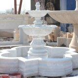 Sculpté à la main de sculpture sur pierre fontaine en marbre blanc (GSF-116)