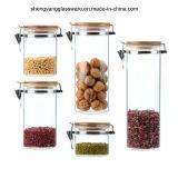 De Kruik van de Opslag van het Voedsel van het Glas van Borosilicate van de Rang van het voedsel 5PCS die met de Kruik van de Opslag van de Thee van het Deksel van het Bamboe wordt geplaatst