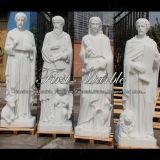 Hand-Geschnitzte weiße Marmorsteinskulptur für Hauptdekoration Ms-1016