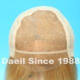 Alta peluca ligera del pelo humano con el encierro del frontal del cordón