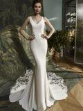 花嫁のウェディングドレスを均等にするサテンの人魚のレース