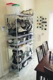 DIY 6の棚のレストランのステンレス鋼の台所道具機器の記憶ワイヤーラック棚付けシステム