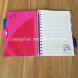 Divisores coloridos dos PP do projeto da tampa A5 dos PP da espiral caderno dobro