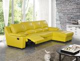 Sofá de canto de couro de luxo com reclinável elétrico
