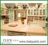 Partie supérieure du comptoir préfabriquée crème de cuisine d'île de pierre de quartz