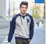 Новые поступления цветовой комбинации мужчин хлопка флис вышивка Hoodies