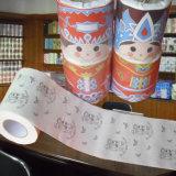 Rolo impresso feito sob encomenda do tecido de banheiro do papel higiénico humano