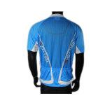 サイクルクラブのための青いカラー循環の短い袖ジャージーのファスナーを締めなさい