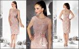 Rosa moda Tea-Length breve Cap Sleeve encajes de la mujer madre de la novia vestido (GDNY023)