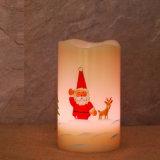 Suporte de vela com árvores, vela do diodo emissor de luz da impressão da mão do diodo emissor de luz do Natal