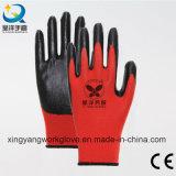 13G полиэстера с покрытием нитриловые защитные труда промышленные рабочие перчатки (N006)