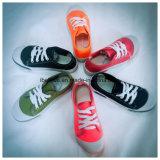 2つのカラーOutsoleの洗浄ジーンズの靴甲革の平らな靴