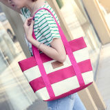 핸드백 숙녀 큰 어깨에 매는 가방 운반물 우연한 Bolsa 쇼핑 백을 인쇄하는 2017의 여자 바닷가 화포 부대 형식 색깔 줄무늬