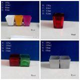 Vaso di vetro verniciato di vetro colorato del supporto di candela del vaso di vetro quadrato della candela