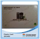 Cartão do presente do material plástico do ISO 9001