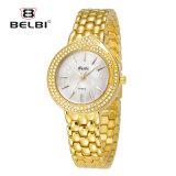 Vigilanza di modo del diamante del braccialetto dell'oro dell'acciaio inossidabile dei monili delle donne di modo della vigilanza delle donne di Belbi