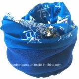 工場OEMの農産物はロゴによって印刷された青い北極の冬の羊毛の首の管のスカーフをカスタマイズした