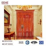 Puerta de madera de madera sólida del diseño de la puerta doble de la teca delantera