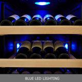 Réfrigérateur en verre de vin de coin de compresseur de porte de zone duelle intrinsèque de 168 bouteilles plein