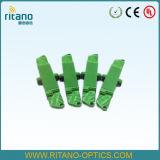 Adaptadores del cable óptico de fibra de E2000/APC con de pequeñas pérdidas en 0.2dB con la casa verde plástica