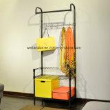 Het eenvoudige Houseware Op zwaar werk berekende Zwarte Rek van de Hanger van de Kleding van het Kledingstuk van het Metaal met 2 Planken